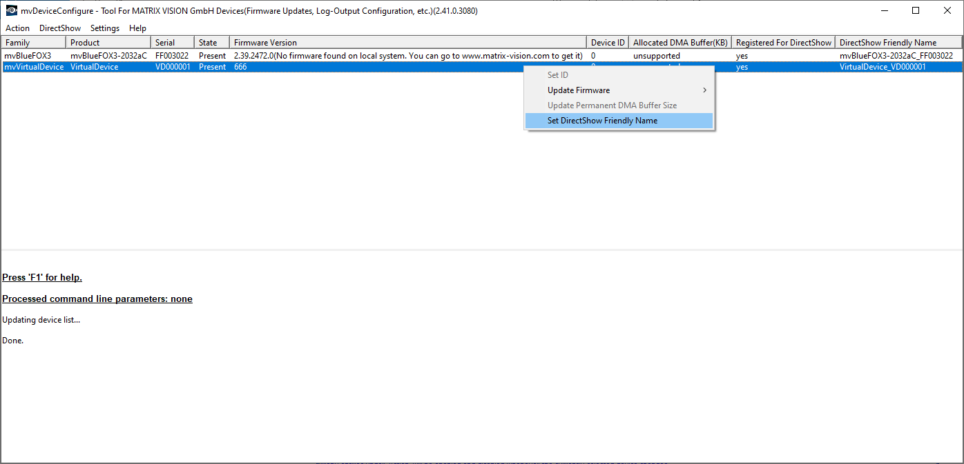 MATRIX VISION - mvBlueFOX Technical Documentation: DirectShow Interface